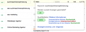 Adwords Keyword Qualitaetsfaktor Popup